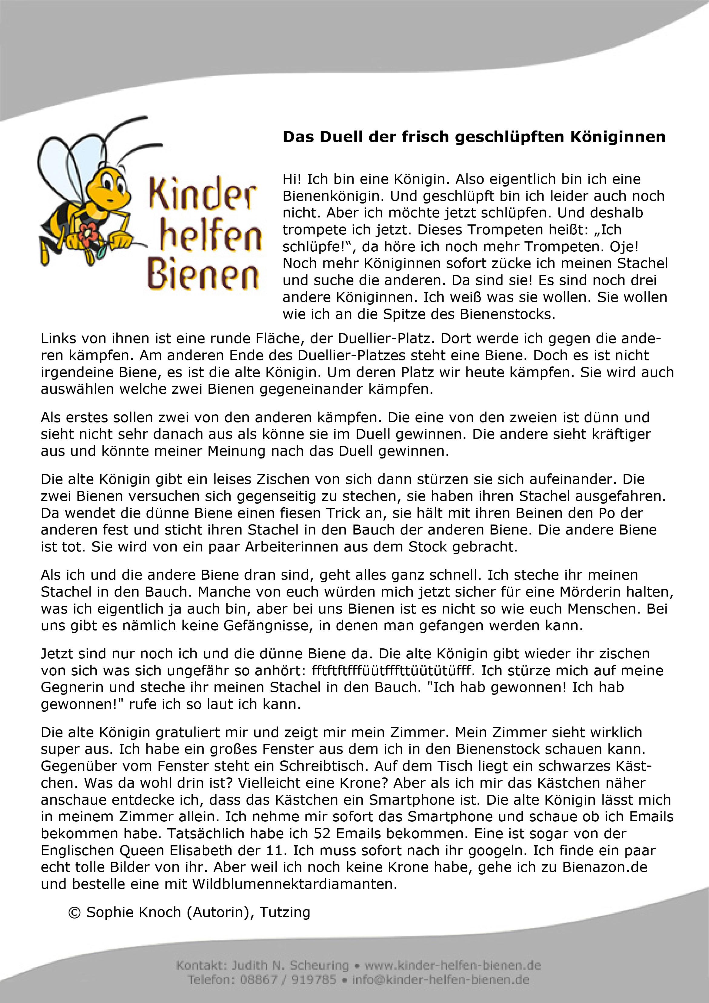 Sophies Bienengeschichte Kinder Helfen Bienen